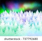 christmas winter landscape... | Shutterstock .eps vector #737792680