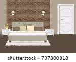 bedroom with a brick wall.... | Shutterstock .eps vector #737800318