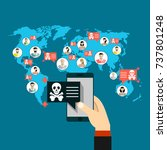 "smartphone on hand shows ""virus""... | Shutterstock .eps vector #737801248"