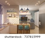 3d illustration living room and ... | Shutterstock . vector #737815999