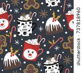 christmas pattern with... | Shutterstock .eps vector #737818960