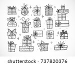 collection of doodle sketch... | Shutterstock .eps vector #737820376