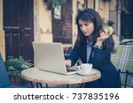 young business woman working at ... | Shutterstock . vector #737835196