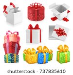gift boxes with bows. 3d vector ...
