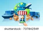 transportation delivery... | Shutterstock .eps vector #737842549