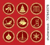 christmas elements into gold... | Shutterstock .eps vector #737843578