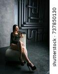 beautiful sexy girl in studio... | Shutterstock . vector #737850130