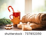 christmas gingerbread  candy ... | Shutterstock . vector #737852350