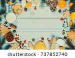 cooking christmas gingerbread... | Shutterstock . vector #737852740