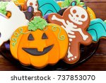 halloween gingerbread  candy ... | Shutterstock . vector #737853070