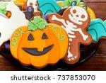 halloween gingerbread  candy ... | Shutterstock . vector #737853070