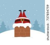 santa stuck in chimney winter... | Shutterstock .eps vector #737854759