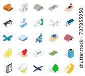 flight icons set. isometric set ... | Shutterstock . vector #737855950