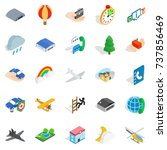 aviation icons set. isometric... | Shutterstock . vector #737856469