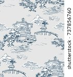 japanese temple view vector... | Shutterstock .eps vector #737856760