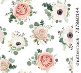 Stock vector seamless pattern vector floral watercolor style design garden powder white pink anemone flower 737860144