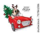 christmas card. pug dog in a... | Shutterstock .eps vector #737861086