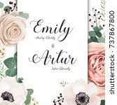 floral wedding invitation... | Shutterstock .eps vector #737867800
