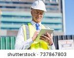 senior engineer man in suit and ... | Shutterstock . vector #737867803