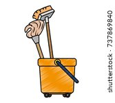 toilet trolley with broom and... | Shutterstock .eps vector #737869840