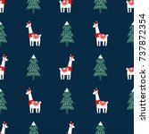 christmas tree and cute lama... | Shutterstock .eps vector #737872354