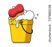 bucket with foam and brush | Shutterstock .eps vector #737880238