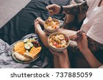 cropped shot of couple having...   Shutterstock . vector #737885059