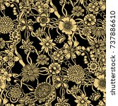 doodle flowers seamless pattern.... | Shutterstock .eps vector #737886610