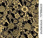 doodle flowers seamless pattern.... | Shutterstock .eps vector #737886610
