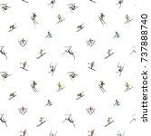 seamless pattern. winter skiing ...   Shutterstock .eps vector #737888740