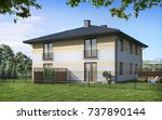 house for a young family  3d...   Shutterstock . vector #737890144