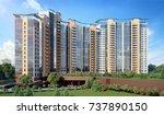 modern residential complex  3d...   Shutterstock . vector #737890150