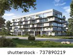 modern residential  3d render ... | Shutterstock . vector #737890219