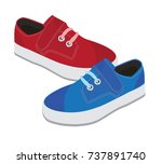 red and blue kids sneakers | Shutterstock .eps vector #737891740