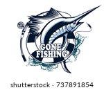 marlin fish logo.sword fishing... | Shutterstock .eps vector #737891854
