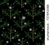 seamless pattern with fir or...   Shutterstock .eps vector #737892088