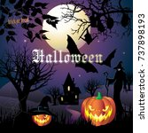 halloween night background with ... | Shutterstock .eps vector #737898193