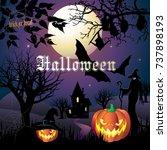 halloween night background with ... | Shutterstock .eps vector #737898193