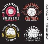 set of volleyball new york...   Shutterstock .eps vector #737900590