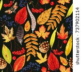 autumn pattern with leaves and...   Shutterstock .eps vector #737902114