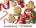 christmas gingerbread cookies... | Shutterstock . vector #737908489