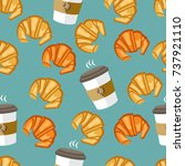 coffee and croissant seamless...   Shutterstock .eps vector #737921110