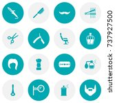set of 16 barber icons set... | Shutterstock .eps vector #737927500