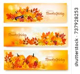 set of happy thanksgiving... | Shutterstock .eps vector #737928253