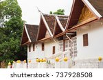 view of the temple building in... | Shutterstock . vector #737928508