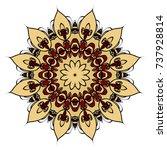 red  gold mandala round... | Shutterstock .eps vector #737928814