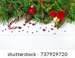 christmas pine tree with... | Shutterstock . vector #737929720