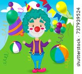 funny clown juggles in the... | Shutterstock .eps vector #737939524