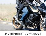 a close up of a motorcycle... | Shutterstock . vector #737950984
