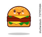 hamburger cartoon character... | Shutterstock . vector #737955484